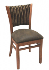 Mullion Wooden Side Chair with Upholstered Seat & Back in Walnut